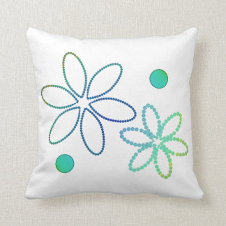 Flowers and beads in yellow, green and blue cushion