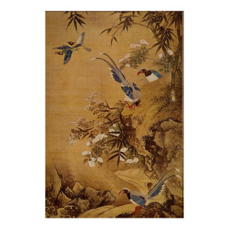 Flowers and Bird by Hsiao Yung Poster