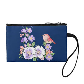 flowers and bird coin purse