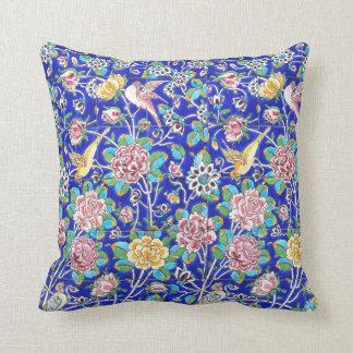 Flowers and bird tile design cushion