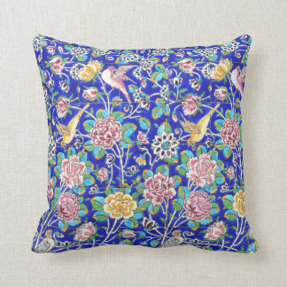 Flowers and bird tile design throw pillow