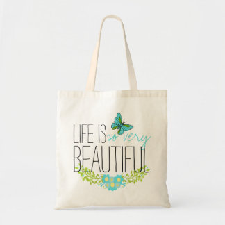 Flowers and Blue Butterfly Watercolor BOHO Muslin Tote Bag