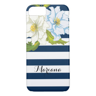 Flowers and blue, white stripes modern floral iPhone 7 case