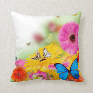 Flowers and Butterflies cushion throw pillow