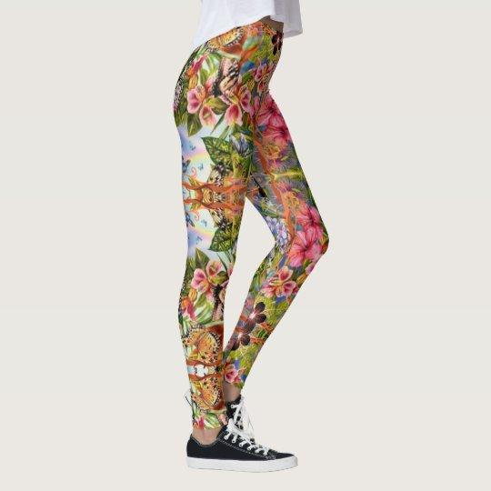 flowers and butterflies leggings