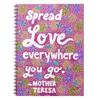 Flowers And Butterflies Love Typography Quote Notebook