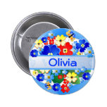 Flowers and Butterflies ~ Name Button