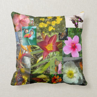 Flowers and Butterflies on American MoJo Pillow