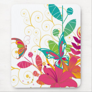 Flowers and Butterfly Mousepad Mouse Pad