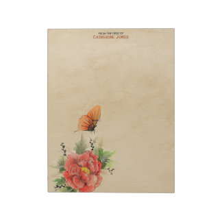 Flowers and Butterfly | Parchment | Vintage Paper Notepad