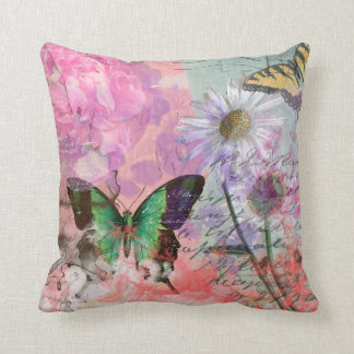 Flowers and Butterfly Vintage Paris Cushion