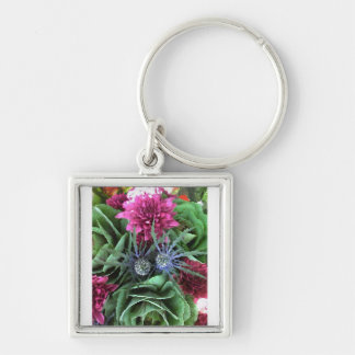 Flowers and Cabbages Silver-Colored Square Key Ring