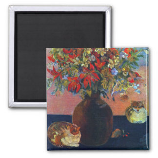 Flowers and Cats by Gauguin, Vintage Fine Art Square Magnet