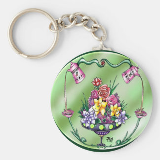 Flowers and Coffee Key Ring