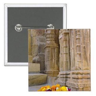 Flowers and columns, Jaisalmer Fort, Jaisalmer, 15 Cm Square Badge