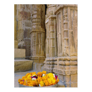 Flowers and columns, Jaisalmer Fort, Jaisalmer, Postcard