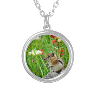 Flowers and cute cubby little Chipmunk Custom Jewelry