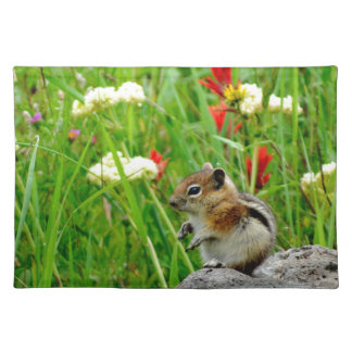 Flowers and cute cubby little Chipmunk Cloth Place Mat