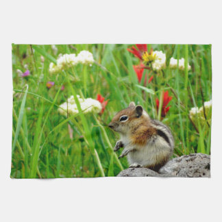 Flowers and cute cubby little Chipmunk Towel