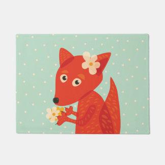 Flowers And Cute Fox Doormat