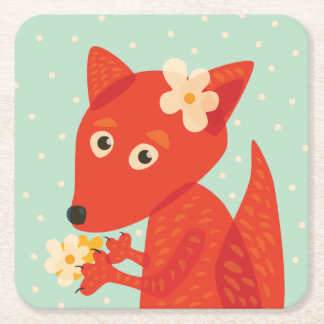 Flowers And Cute Fox Square Paper Coaster