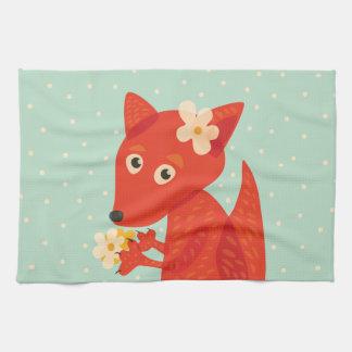 Flowers And Cute Fox Tea Towel