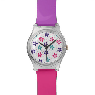 Flowers and Dots Pattern Watch