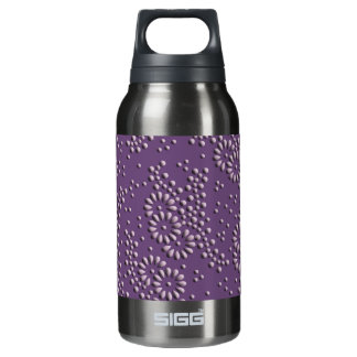 Flowers and dots purple japanese pattern insulated water bottle
