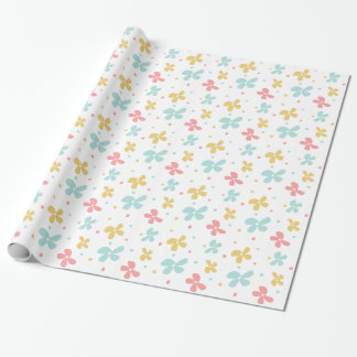 Flowers and Dots Retro Pastels Wrapping Paper
