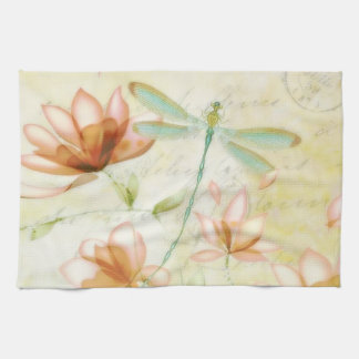 Flowers and dragonfly tea towel