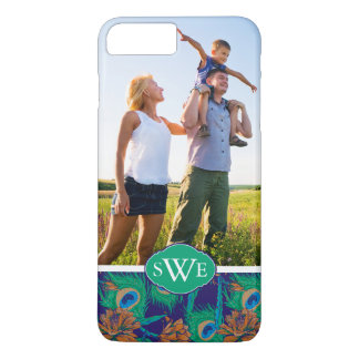 Flowers And Feathers | Add Your Photo & Monogram iPhone 8 Plus/7 Plus Case