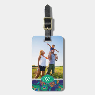 Flowers And Feathers | Add Your Photo & Monogram Luggage Tag