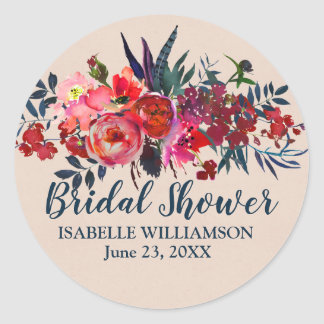 Flowers and Feathers Bohemian Bridal Shower Classic Round Sticker