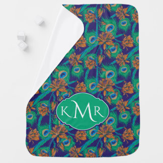 Flowers And Feathers | Monogram Baby Blanket