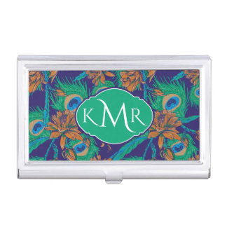 Flowers And Feathers | Monogram Business Card Holder