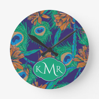Flowers And Feathers | Monogram Clock