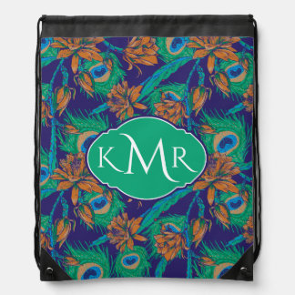 Flowers And Feathers | Monogram Drawstring Bag