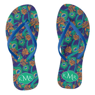 Flowers And Feathers | Monogram Flip Flops
