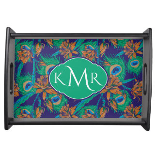 Flowers And Feathers | Monogram Serving Tray