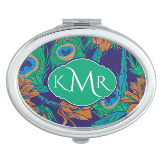 Flowers And Feathers   Monogram Travel Mirror