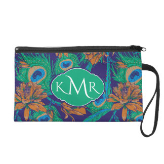 Flowers And Feathers | Monogram Wristlet
