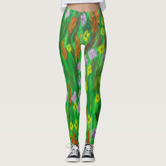 flowers and foliage leggings