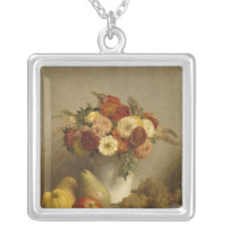Flowers and Fruit, 1865 Silver Plated Necklace