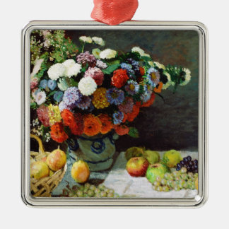 Flowers and Fruit, 1869  Claude Monet Silver-Colored Square Decoration