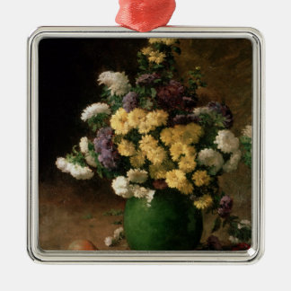 Flowers and Fruit, 1880 Silver-Colored Square Decoration
