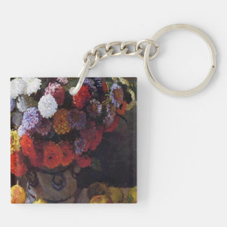 Flowers and Fruit Double-Sided Square Acrylic Key Ring