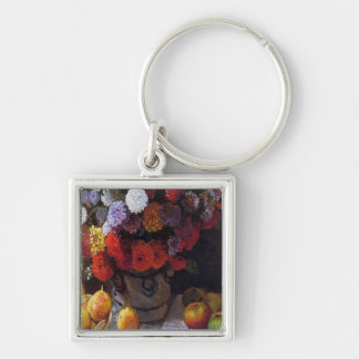 Flowers and Fruit Silver-Colored Square Key Ring