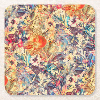 flowers and fruits square paper coaster