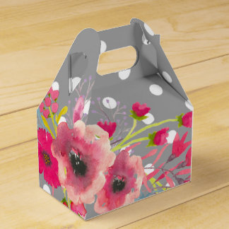 Flowers and grey polka dot cute modern glamour favour box