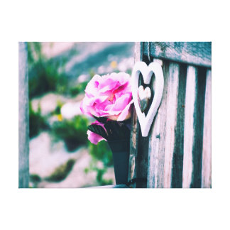 Flowers and Heart | Photography Canvas Print